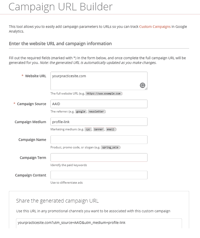 Example of a custom campaign link created in Google's Campaign URL Builder.