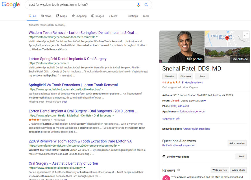 Example of a Google featured result