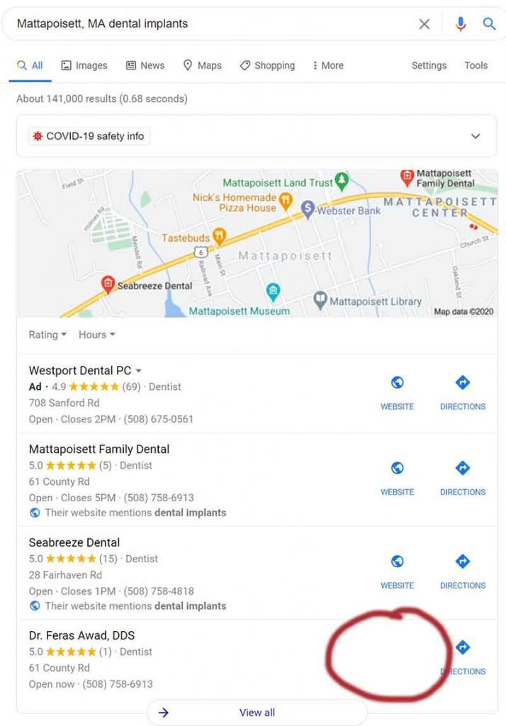 google-maps-result-example-search-for-dental-implants-without-website